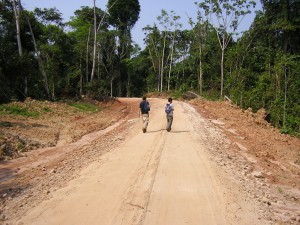 Two men walking down a dirt road through forest