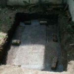 Chicken wire in the hole to prevent the turtle from digging its way out