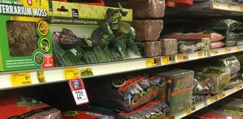 A selection of substrates for sale for reptiles and amphibians at a pet store on a shelf